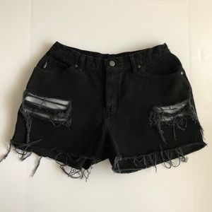 Pants - Vintage High Waisted Black Denim Shorts